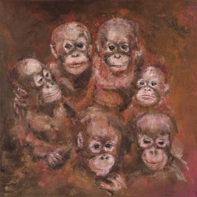 painting of baby orangutans
