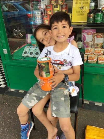 two children raising money for orangutans