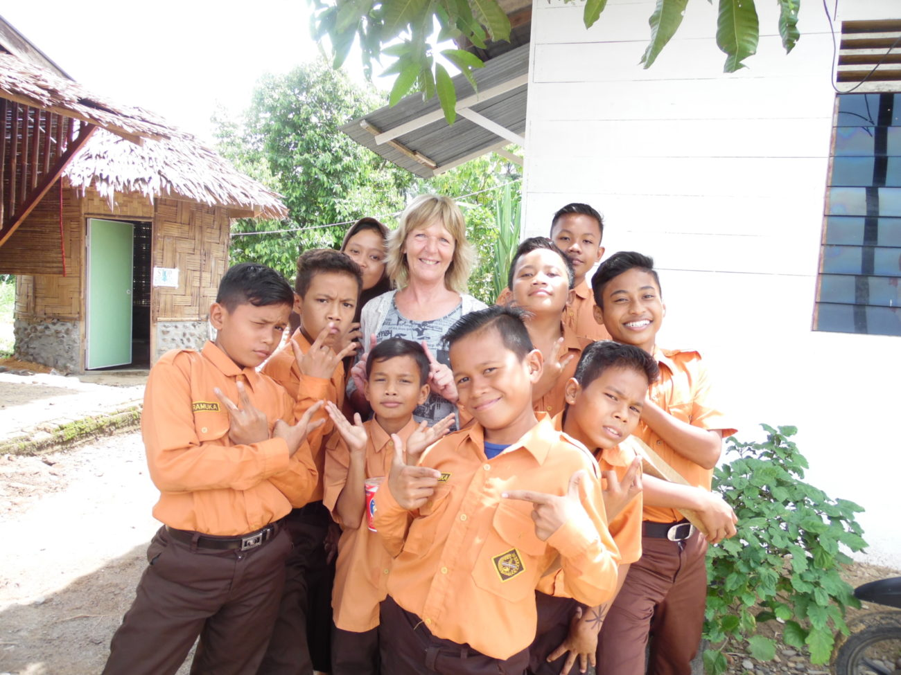 A group of school children in Sumatra