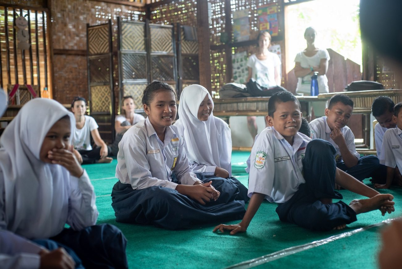 Children enjoying a lesson in a classroom in Sumatra