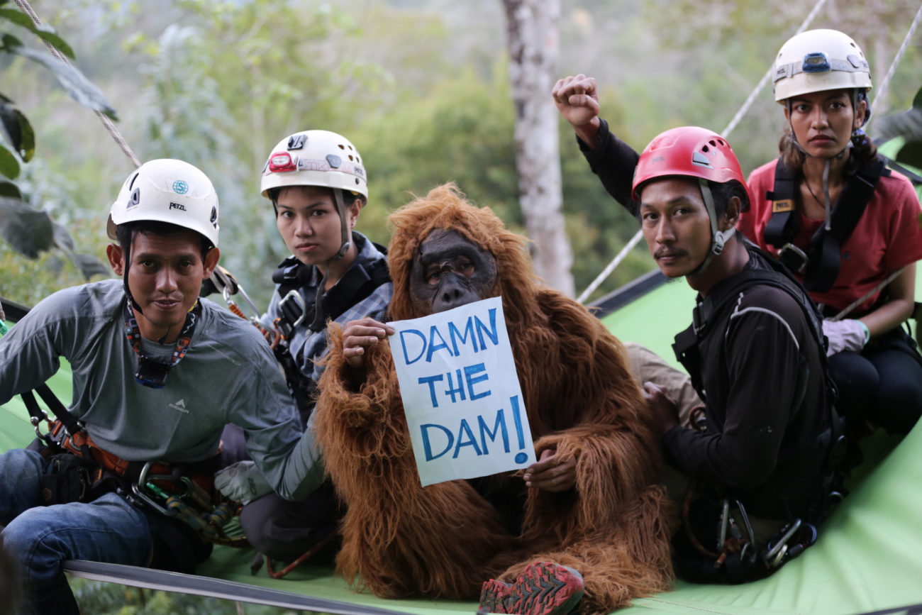 A group of people protest in a forest.