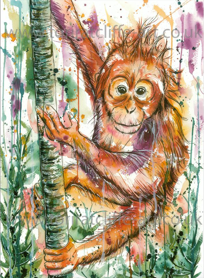 A watercolour painting of an orangutan