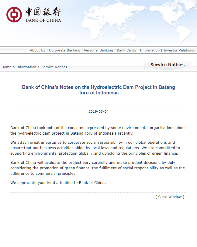A screenshot from the Bank of China website